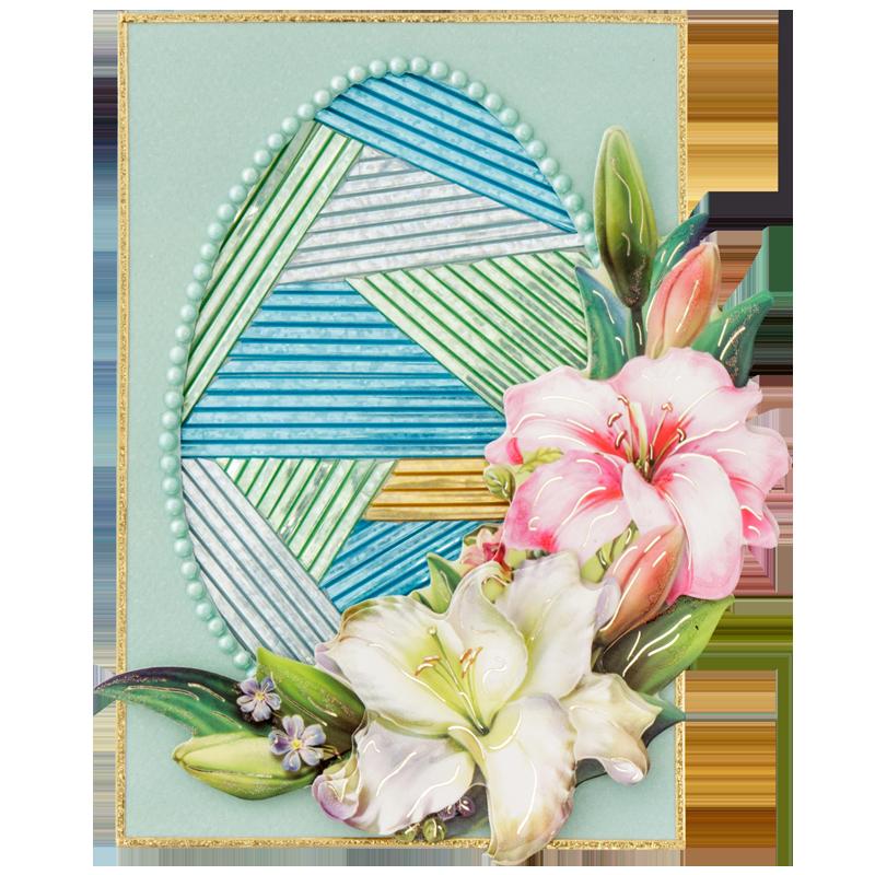 Bastelidee: Osterkarte mit Mosaik aus Zierband