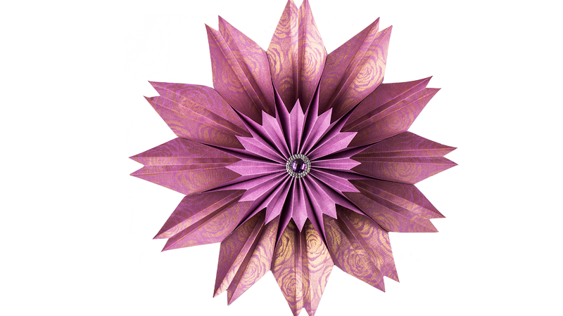 Anleitung: Flora-Blume aus quadratischem Faltpapier