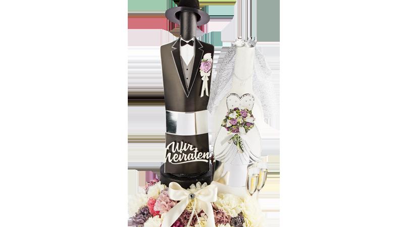Bastelidee: Hochzeitspaar aus Deko-Flaschen