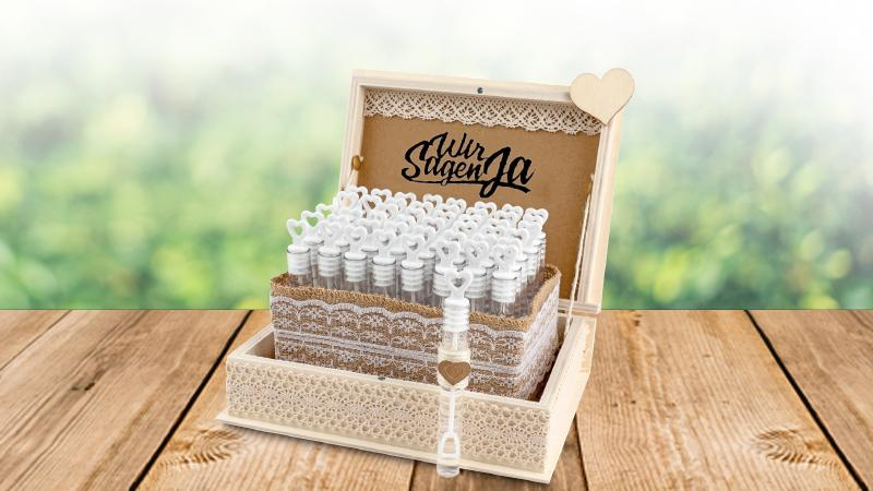 Bastelidee: Box mit Hochzeits-Seifenblasen